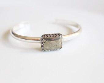 Last Minute Gift Pyrite Cuff Bracelet in Sterling Silver / Fools Gold Cuff / Pyrite Bracelet Metallic Cuff / Golden Pyrite Stone /