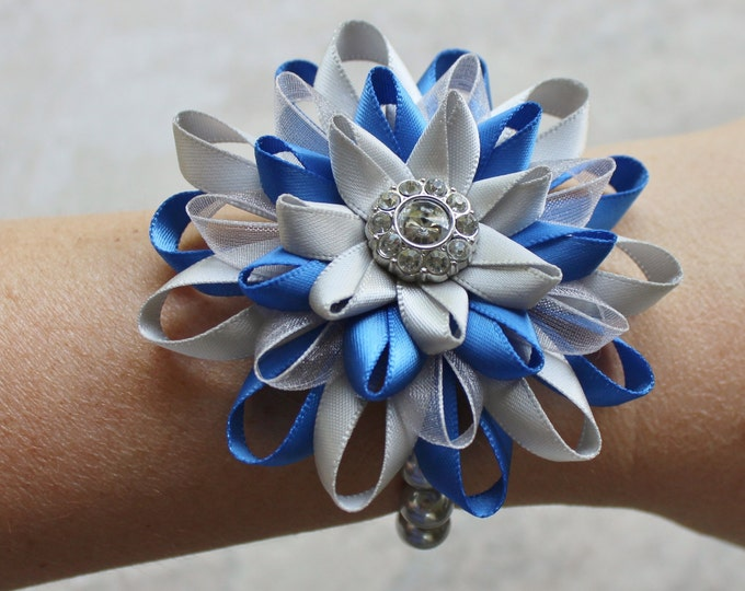 Wrist Corsage, Blue, Gray, Silver Wrist Flower, Blue Wrist Corsage Flower, Royal Blue and Gray Bracelet, Royal Blue Wedding, Wrist Flowers