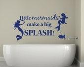 Little Mermaids make a big splash bathroom vinyl decal, mermaid decal, mermaids, nautical decor