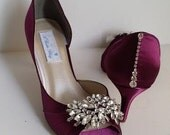 Wedding Shoes Burgundy Bridal Shoes with a Large Sparkling Crystal Brooch Design and Heel Crystal Design Over 100 Custom Color Choices