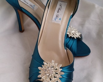 Wedding Shoes Teal Bridal Shoes with Sparkling Crystal Flower Burst Brooch Design -100 Additional Colors To Pick From