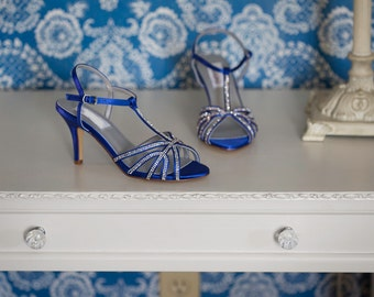 Blue Wedding Shoes with Sparkle Blue Bridal Shoes Bridesmaid Shoes - Over 100 Color Choices to Pick From