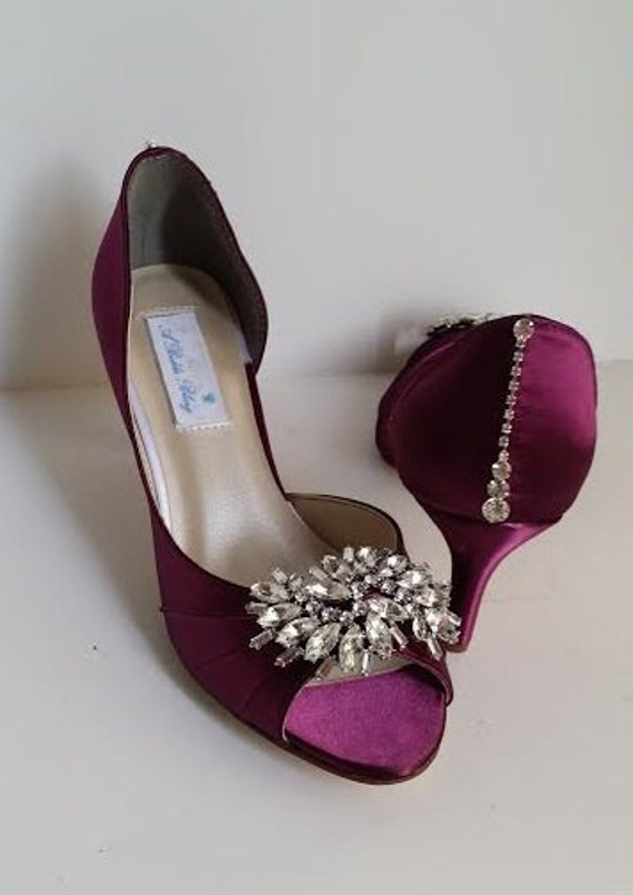 wedding shoes burgundy bridal shoes with a large sparkling