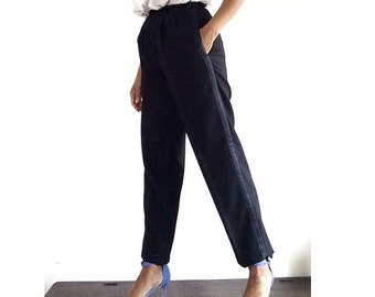 80s Womens tuxedo pants, Vintage tuxedo black pants, High waisted pants, Womens trousers, Wide leg trousers, Petite clothing