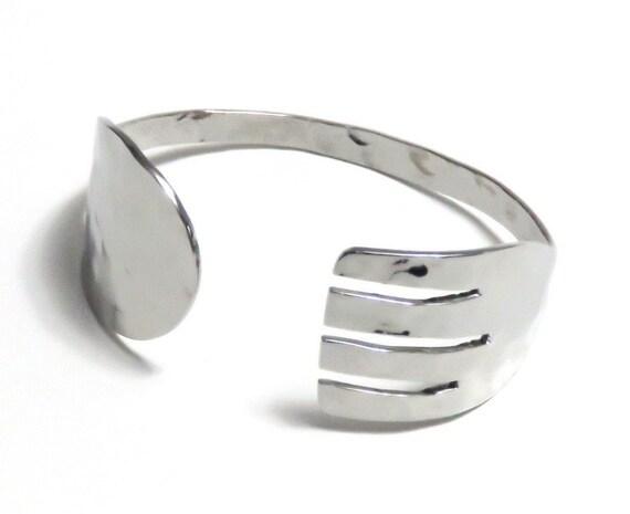 Spork Bracelet, Stainless Steel, Women, Men, Mirror and Hammer Finish
