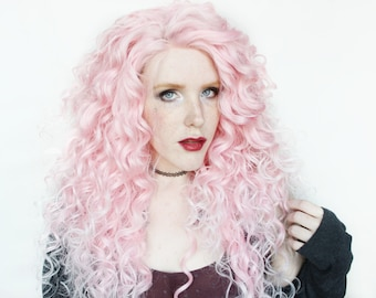 SALE Lace Front Pink wig   Pastel wig, Ombre wig, Scene wig   Cotton Candy Heart