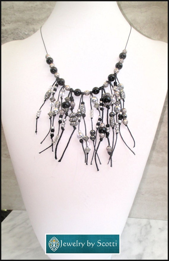 black and silver beaded fringe necklace chunky tribal style
