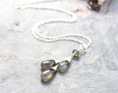 Labradorite Necklace Gray Gemstone Pendant Necklace, Sterling Silver Teardrop Necklace