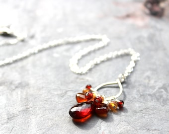 Cluster Gemstone Necklace Autumn Spessartite Garnet Sterling Silver Red Orange Rustic