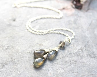 Labradorite Necklace Gray Gemstone Pendant Necklace, Sterling Silver Teardrop Necklace