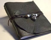 Skull Journal, Green Leather Book, Goth Journal, Lambskin Journal