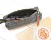 Felt pencil case - grey wool felt and heavy duty zipper