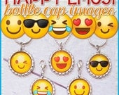EMOJI BOTTLE CAP Images, Smiley Face, Emoji Party Favor, Don't Worry Be Happy or add to Box of Sunshine Gift - Printable Instant Download