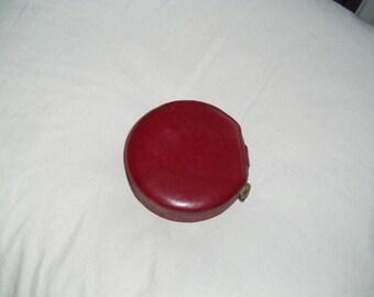Old small powder box - Burgundy leather