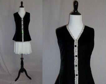 60s Party Dress - Black Velvet - White Chiffon - Silver Metallic Trim - Rhinestones - Lee Jordan - Vintage 1960s - S