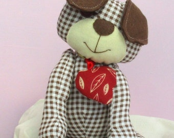 Harris soft toy puppy dog sewing pattern.  Easy to sew
