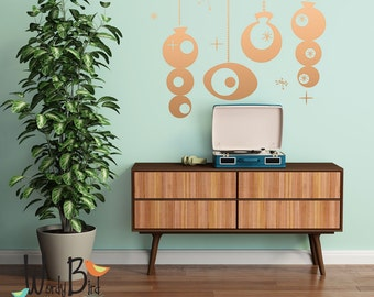 Mid Century Style Gold Ornaments Wall Decal Sticker set - Holiday Decorations - Party Decorations