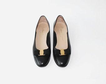 1980's Salvatore Ferragamo Black Leather Bow Tie Ballet Flats