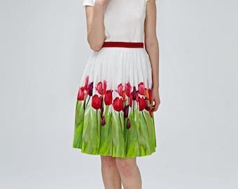 Alternative wedding dress Casual wedding dress Silk floral dress 1950s dress 50s dress Floral wedding dress Made to order XS S M L XL 1X