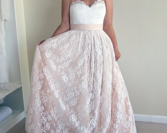 Strapless Wedding Dress, A-line Lace Wedding Dress, Blush Pink Wedding Dress, Lace Ball Gown, Sweetheart Neckline Wedding Dress