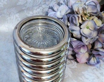 Stunning Vintage LEONARD~ Silverplate Rimmed Glass Coaster Set of 8~Made in ITALY