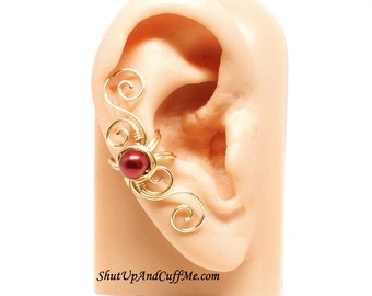 Gold Ear Cuff, Swirly Ear Cuff with Dark Red Glass Pearl