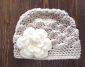 Girls Hat, Linen and Cream Girl Hat, Newborn Girl Hat, Crochet Baby Hat, Crochet Girls Hat, Baby Girl Hat, Baby Hat for Girls