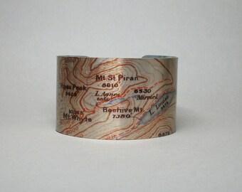 Lake Louise Banff National Park Canadian Rockies Map Cuff Bracelet Unique Gift for Men or Women