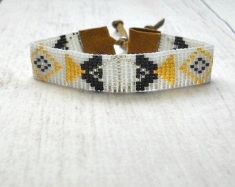 Geometric Bracelet - Beaded Bracelet - Adjustable Bracelet - Women's Bracelet - Beaded Jewelry - Bracelet Beaded - Beadwoven Bracelet