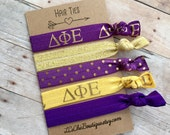 Boutique Elastic Hair Ties DELTA PHI EPSILON Purple Gold 5 pack - awesome gift
