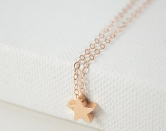 Rose Gold Necklace, Star Necklace, Everyday Necklace, Bridesmaid Gift, Wedding Necklace, Gift Necklace, Star Jewelry, Minimal, Everyday