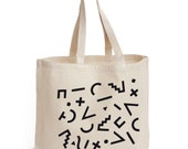 Maxi canvas bag screen printed with a geometric pattern