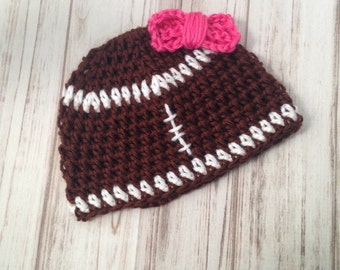 Girls Football Hat with a bow ready to ship size 3 to 6 months, winter hat, photography prop, football hat, toddler hat