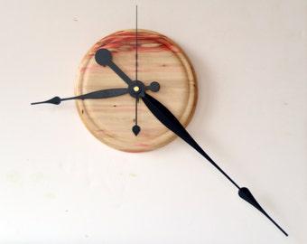 Big Hands Clock, Wall Clock, Flame Box Elder, Wall Decor, Turned Wood Clock