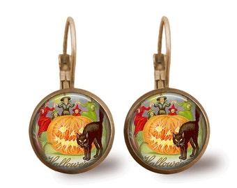 Halloween Jewelry Halloween Earrings Pumpkin Earrings Witch Earrings Cat Earrings  Brass Jewelry Holiday Jewelry Beaded Jewelry