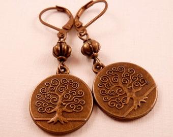 Tree Earrings Brass Earrings Beaded Earrings Beaded Jewelry Tree Jewelry Brass Jewelry Metal Jewelry