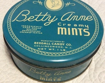 Vintage Betty Anne Creamy Mints Tin Container Advertising 1950s Cream Teal