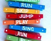CHILDRENS ARTWORK CLOTHESPINS primary colors classroom decor  run skip jump play create