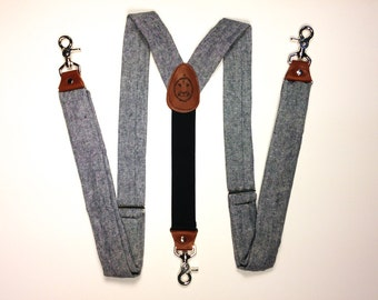 Snap Hook Men's Suspenders // Blue Linen // 1.5 inches wide // BlueLinen // Durian and the Lyon