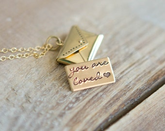 Gold Love Letter Locket Necklace - Bronze Envelope Locket - Gold Locket - Personalized Hand Stamped Message - Mother's Day Gift