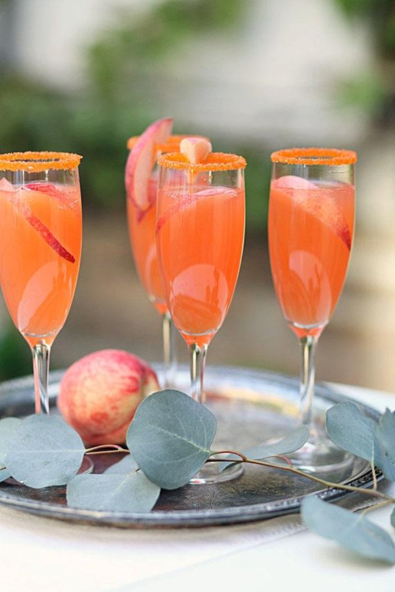 Orange colored cocktail sugar - colorful rim sugar garnish for drinks - sparkle sugar, glitter sugar, champagne sugar, martini sugar