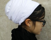 tichel volumizer,jewish head covering,chemo head scarf,hair snood,hair cover,white bun cover,snood,by oshratDesignz