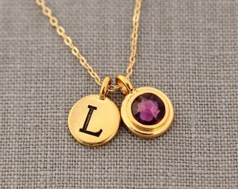 Gold Amethyst Necklace, Gold Personalized Initial Necklace, Custom Jewelry Gift, Gold Amethyst Jewelry, Gold Grandmothers Necklace
