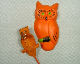 Vintage Halloween Owls Retro Decorations Flocked Pick Party Decor Orange Black
