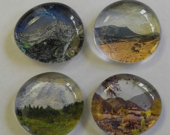 Set of 4 Unique Mountain View Glass Marble Magnets