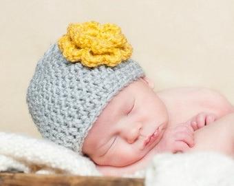 Crochet Baby Beanie Newborn to 5T Flower Hat Silver Heather/Mustard - MADE TO Order