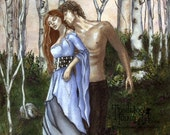 Sale: Lancelot and Guenivere Art Print, Medieval Fantasy Art Camelot, Gwenevere, Starcrossed Love, Forest and Castle