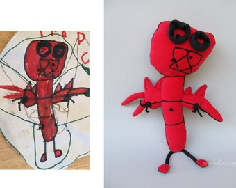 Personalized your child's art Custom plushie Kids drawing doll - MADE TO ORDER