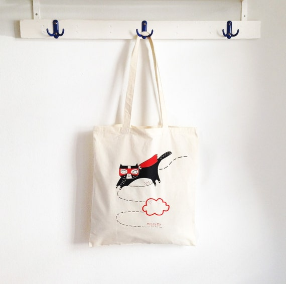 CAT Tote Bag - handmade screen print - eco cotton bag for cat lovers, gift for her mom daughter hipster hip superhero