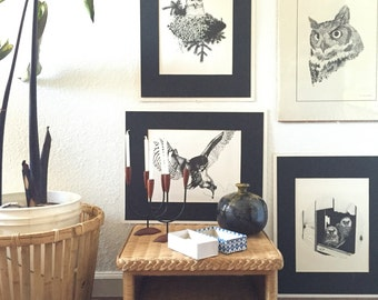 """16"""" x 20"""" vintage owl lithograph prints signed  / Mike Oneill / drawing artwork"""